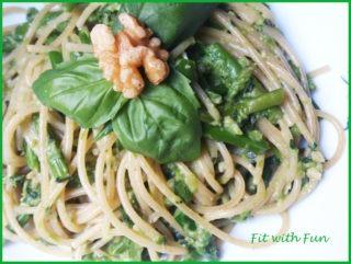 Spaghetti con Pesto di Basilico e Asparagi