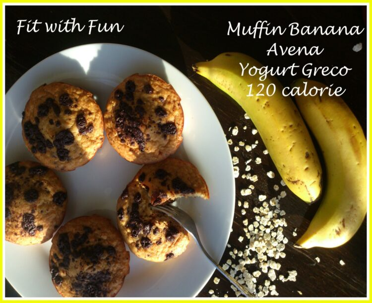 Muffin Banana Avena e Yogurt Greco da 120 calorie