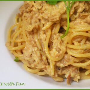 Spaghetti Integrali alla Carbonara di Tonno
