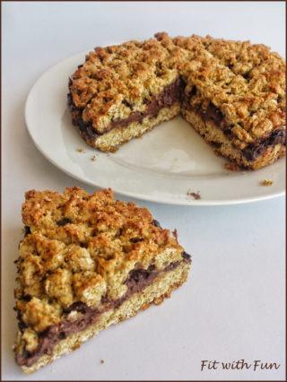 Torta Sbriciolata Fit Proteica con Crema al Formaggio e Cioccolato