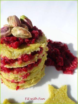 Farinata di Piselli con Barbabietola triturata e Pistacchi