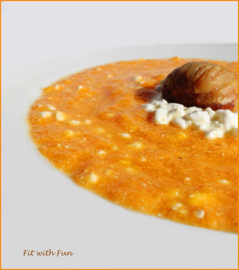 Vellutata di Zucca con Fiocchi di Latte e Castagne