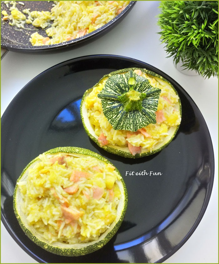 Zucchine Ripiene di Riso allo Zenzero con Salmone Affumicato