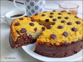 Torta Bicolore Ricotta Albicocche e Cioccolato