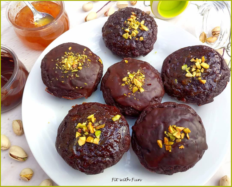 Muffin Cioccolato Pistacchi e Marmellata di Arancia