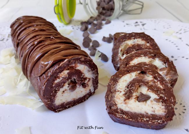 Rotolo Fit e Proteico Senza Cottura Cocco e Cioccolato