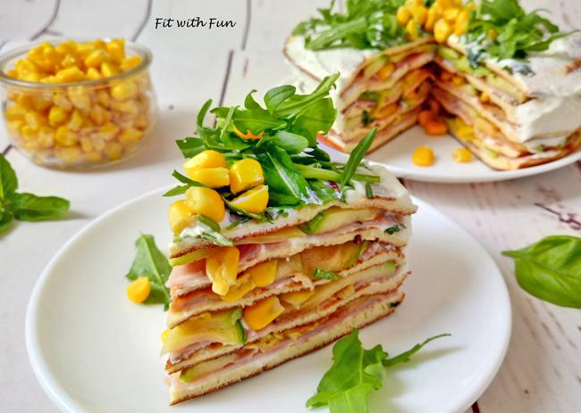 Torta di Crepes Fredda Salata e Senza Glutine